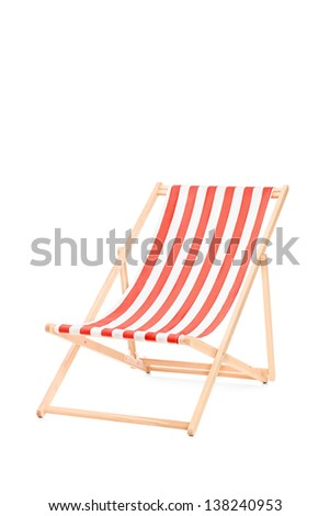 Sun lounger in stripes, isolated on white background