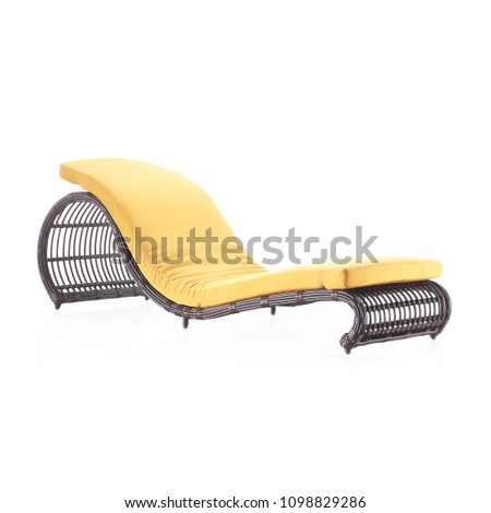 Sun Lounger Isolated on White Background. Rattan Chaise Lounge. Set of Garden Wicker Reclining Chairs. Pool Recliners. Patio and Outdoor Furniture. Beach Long Chair with Brown Soft Cushions