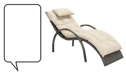 Sun Lounger Isolated on White. Rattan Chaise Lounge Side View. Set of Garden Wicker Reclining Chairs. Pool Recliners. Beach Long Chair with Brown Soft Tufted Cushion. Patio and Outdoor Furniture