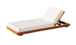 sun lounger, wooden beach with a white blanket isolated on white background