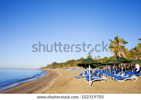 Sun loungers on a sandy beach by the Mediterranean Sea at the popular resort of Marbella in Spain, Costa del Sol, Andalusia region, Malaga province