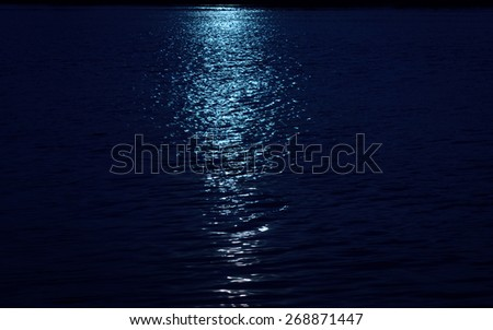 Sun of reflect on the sea ,blue filter