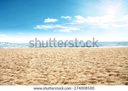 sun of summer time on sky and sand of beach  #274008500