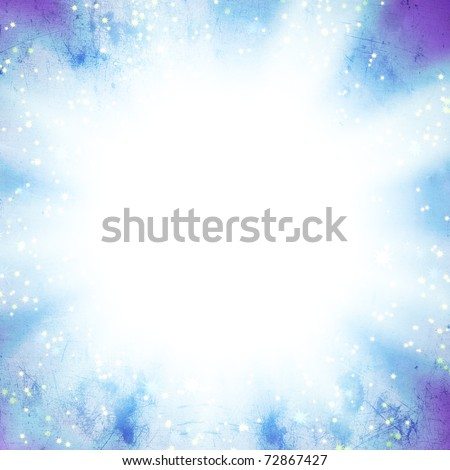 sun on a blue sky with rays and stars, abstract background - stock photo