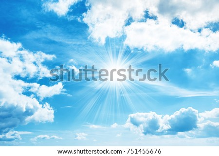 Sun on sky with white clouds for nature background #751455676