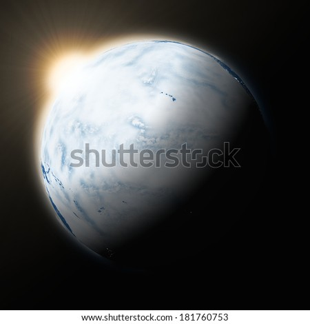Sun over Pacific Ocean on blue planet Earth isolated on black background. Highly detailed planet surface. Elements of this image furnished by NASA.