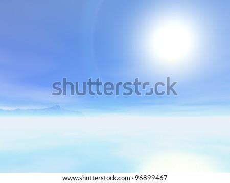 Sun over the sea. 3d illustration - stock photo