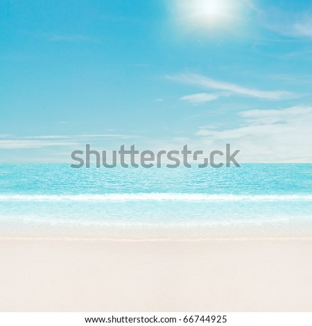 Sun over tropical beach