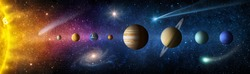 Sun, planets of the solar system and planet Earth, galaxies, stars, comet, asteroid, meteorite, nebula. Space panorama of the universe. Elements of this image furnished by NASA