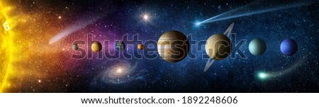 Sun, planets of the solar system and planet Earth, galaxies, stars, comet, asteroid, meteorite, nebula. Space panorama of the universe. Elements of this image furnished by NASA Foto d'archivio ©
