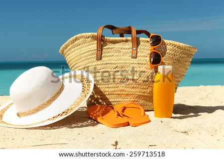 sun protection gear on the sand in the beach