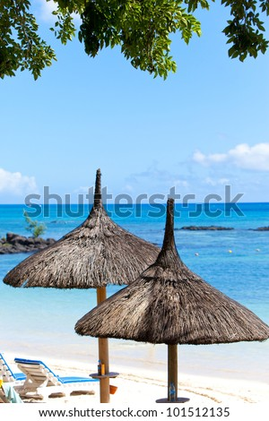 Sun-protection umbrellas, beach, sea. Mauritius