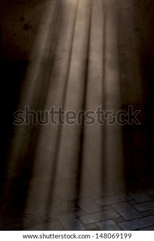 sun rays are shining from the windows on the brick floor