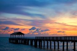 Sun Reflecting on pier in Kauai