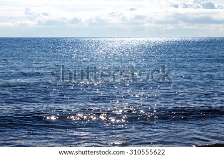 Sun reflecting on sparkling blue sea #310555622