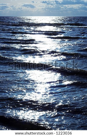 sun reflection in waves