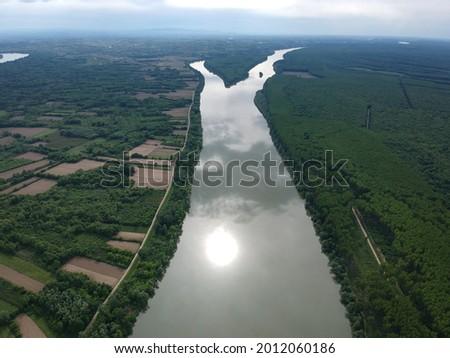 Sun reflection on a cloudy day ,river Sava ,Vojvodina ,Serbia Stok fotoğraf ©