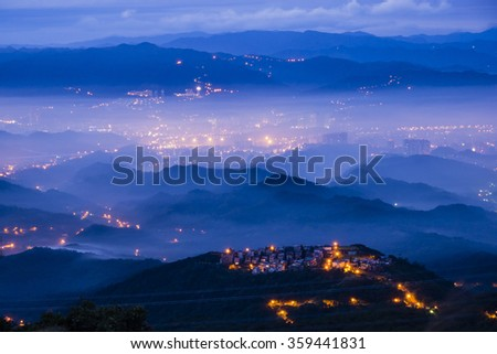 Sun rise at five finger mountain of Taipei, Taiwan