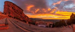 sun rise at red rocks amphitheater in Morrison Colorado