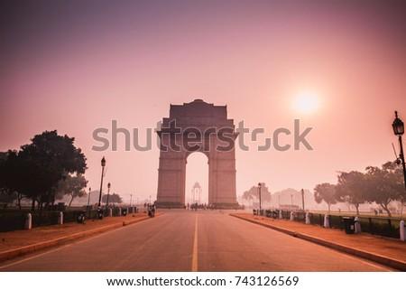 sun rise on india gate, new delhi, india #743126569