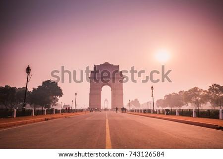 sun rise on india gate, new delhi, india #743126584