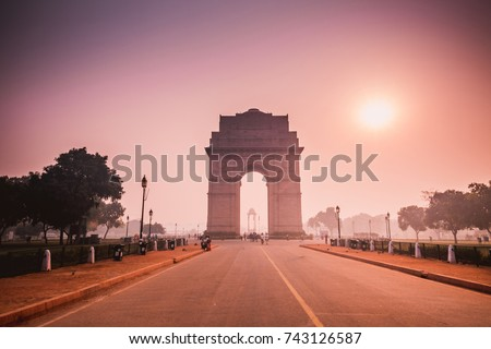 sun rise on india gate, new delhi, india #743126587