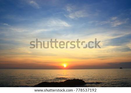 Sun rise over sea and sky #778537192