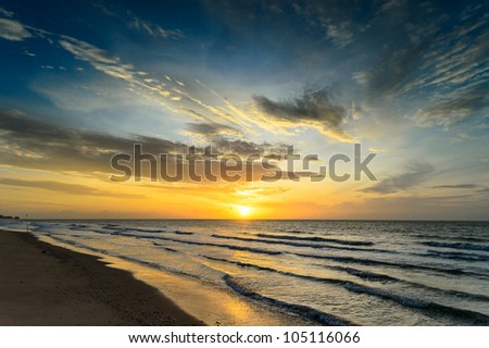 sun rise time at Hua-Hin beach in Thailand