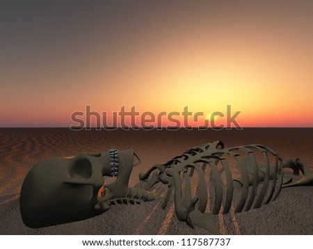 Sun rises or sets over skeleton of man
