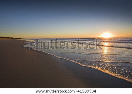 sun rising on the beach at Salt NSW