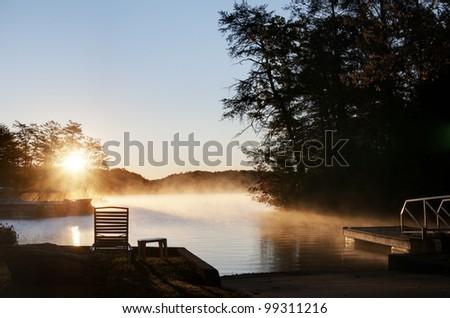 Sun Rising Over Lake Lure, North Carolina.