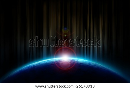 Sun rising up behind the earth