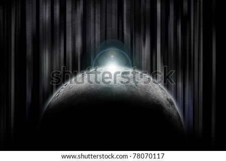 Sun rising up over the dark side of the moon with abstract background