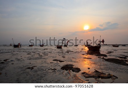 sun set and dirty sea with pollution