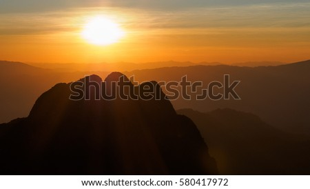 Sun set mountain in Thailand #580417972