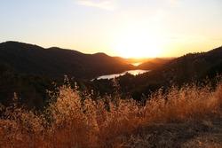 Sun setting in Yosemite National Park, California.
