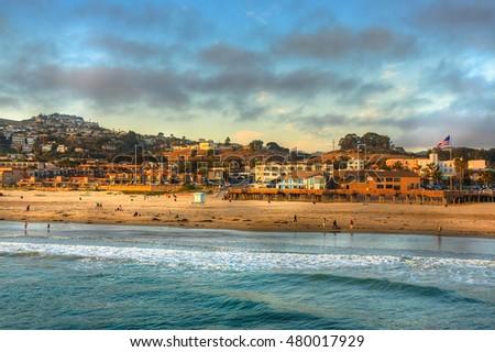 sun setting on Pismo beach pier - USA Zdjęcia stock ©