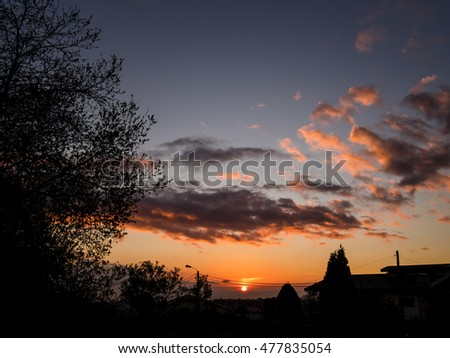 sun setting on the horizon with multiple dark features on the foreground #477835054
