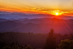 Sun setting over the Cowee Mountain Overlook in the Blue Ridge Mountains