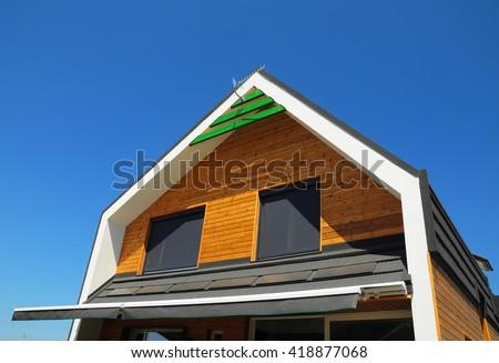 Sun Shade Curtains - Sun House Protection. Sheer Curtains, Solar Panels, Solar Shades Are Popular Window. Shades, Blinds, Curtains for Energy Efficiency. Protection Against Sun and Heat. #418877068