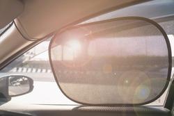 Sun Shade of Side Window car in warm day time
