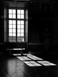 Sun shine to thru the window make shadow inside on the floor black&white look very artistic caption, Sweden