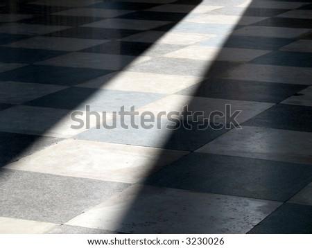 Sun shines in on the beautiful tile floor