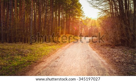 sun shining over road  path ...