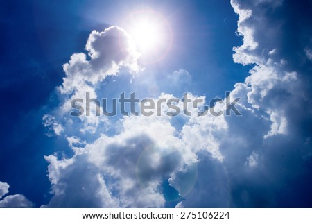 Sun shining through the clouds and a beautiful view,the sun causing lens flare