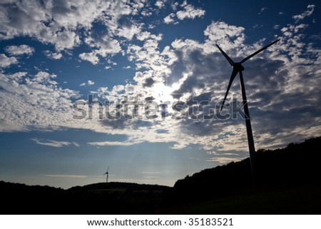 sun, sky and wind mills