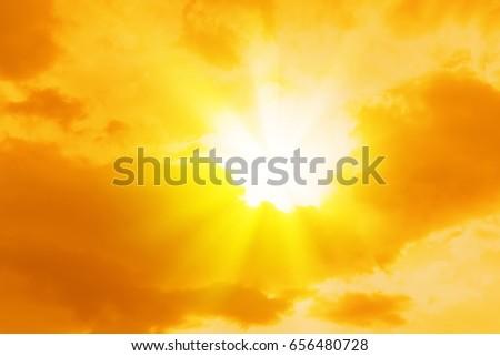 sun sky orange yellow weather light bright sunset sunrise #656480728