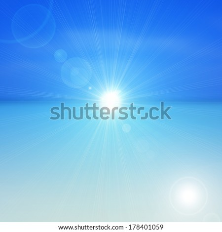 sun sky sea and rays flare background  - Shutterstock ID 178401059