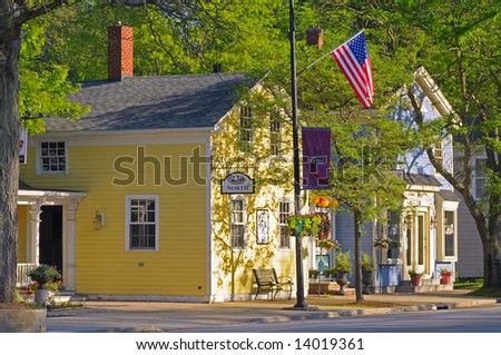 Sun-splashed shops in a quaint business district of Hudson, Ohio