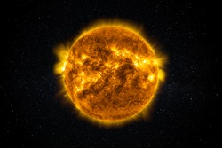 Sun Star in the Starry Sky of Solar System in Space. This image elements furnished by NASA.